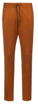 HUGO Boss Tapered-fit stretch-virgin-wool pants elastic waist 32R Brown