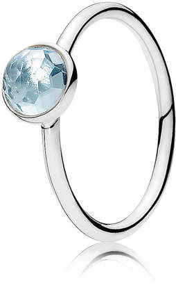 Pandora March Droplet Birthstone Ring - Sterling Silver / Crystal / Blue