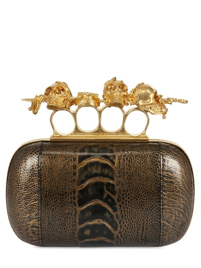 Knuckle Box Gold Ostrich Clutch