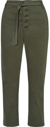 3x1 Vic Cropped Stretch-cotton Straight-leg Pants - Army green