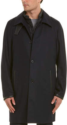 The Kooples Leather-Trim Wool-Blend Coat