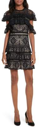 Alice + Olivia Jolie Tiered Ruffle Lace Dress