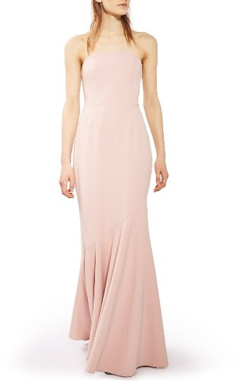 Topshop Women's Topshop Strapless Crepe Gown