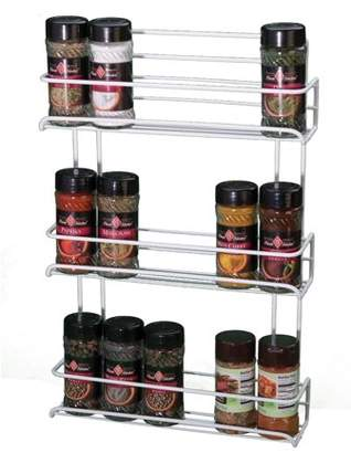 Panacea Products Gourmet Shelf Spice Rack with 3 Shelves, White