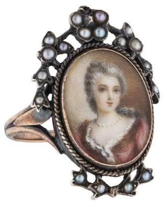 Ring 18K Antique Portrait & Pearl