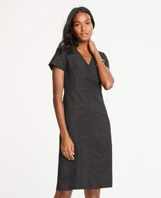 Ann Taylor Shimmer V-Neck Sheath Dress