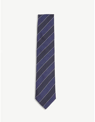 Eton Diagonal-stripe silk tie