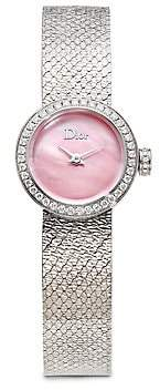Christian Dior Women's La D de Diamond, Pink Mother-Of-Pearl & Stainless Steel Bracelet Watch