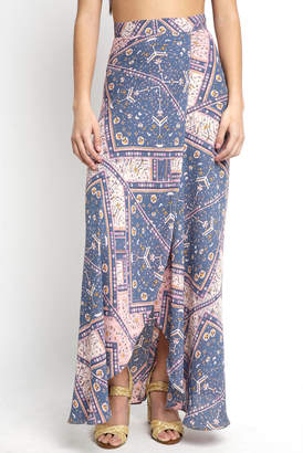 Juniper Blu Patch Print Wrap Maxi Skirt