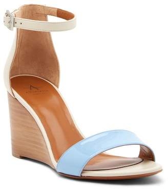 Aquatalia Nina Patent & Calfskin Leather Wedge Sandal