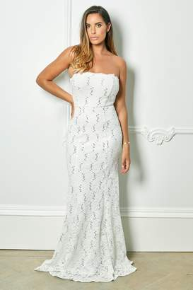 1874ff21066 Next Womens Sistaglam Loves Jessica Rose Bandeau Sequin Lace Bridal Fishtail  Maxi Dress