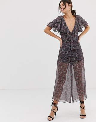 c35e80809a7 Stevie May Gazelle floral print sheer jumpsuit