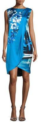 St. John Collection Brushstroke & Hibiscus-Print Draped Dress, Cyan/Multi $1,195 thestylecure.com