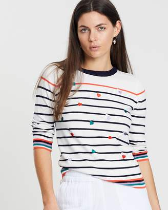 Oasis Heart Embroidered Stripe Knit