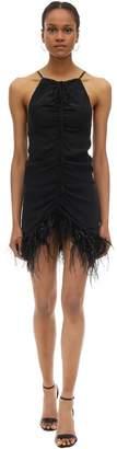 Alice McCall Draped Viscose Mini Dress W/ Feathers