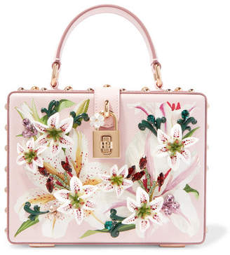 Dolce & Gabbana Lilium Embellished Floral-print Textured-leather Tote - Pink