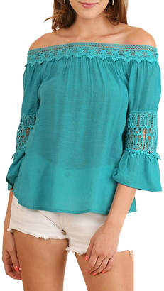 Umgee USA Teal Off-The-Shoulder Top