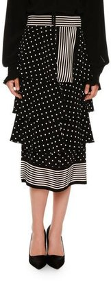Stella McCartney Tiered Polka-Dot Midi Skirt, Black $1,195 thestylecure.com