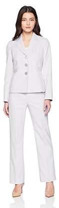 Le Suit Women's Petite Melange Herringbone 3 Bttn Notch Lapel Pant Suit