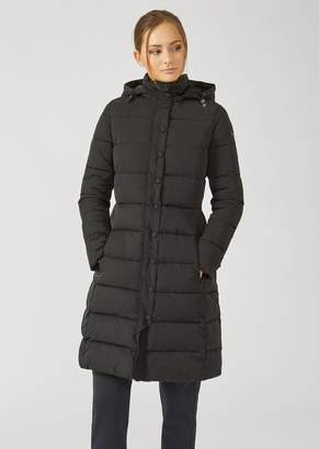 Emporio Armani Long Padded And Quilted Jacket With Hood
