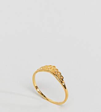 Asos Design DESIGN Gold Plated Sterling Silver Filigree V Ring