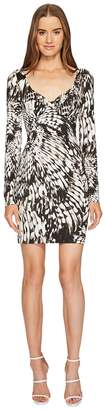 Just Cavalli Wings of Dove Printed Jersey Long Sleeve Dress Women's Dress