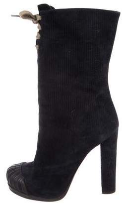 Fendi Textured Suede Ankle Boots