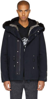 Yves Salomon Navy Fur-Lined Short Parka