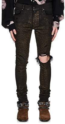 Amiri Men's Broken Leopard-Print Coated Jeans