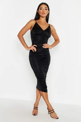 boohoo Ruched Midi Skirt