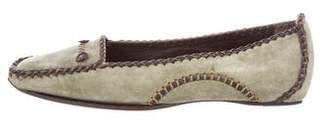 Roger Vivier Suede Square-Toe Loafers