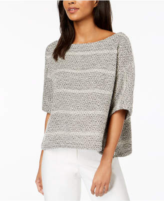 Eileen Fisher Organic Cotton Textured Stripe Boat-Neck Top