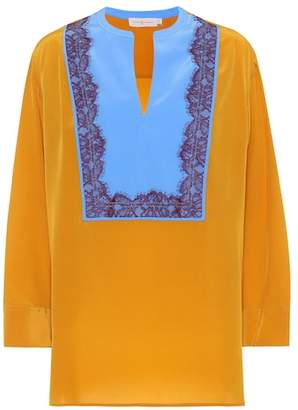 Tory Burch Lace-trimmed silk tunic