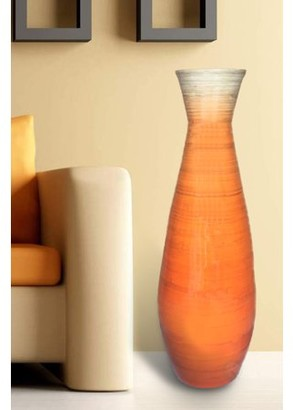 "Uniquewise 31.5"" Tall Bamboo Floor Vase, Glossy Orange"