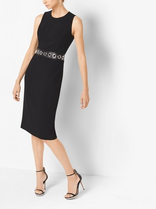 Michael Kors Grommeted Stretch Boucle-Crepe Sheath Dress