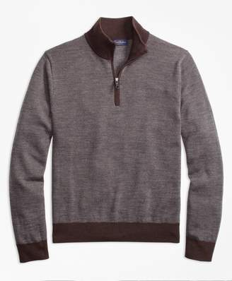 Brooks Brothers Merino Wool Bird's-Eye Half-Zip