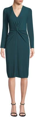 London Times Eve Knot-Front Long-Sleeve Crepe Midi Dress