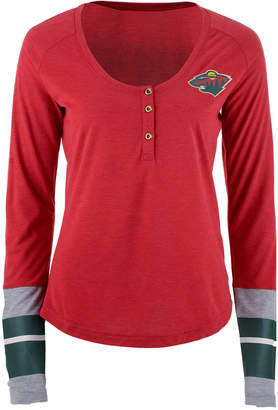 Reebok Women's Minnesota Wild Stripe Henley Long Sleeve T-Shirt