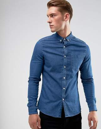Asos Design DESIGN stretch slim denim shirt in mid wash