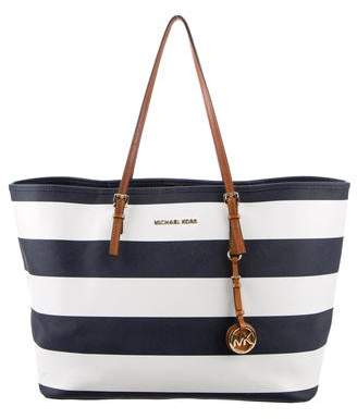 MICHAEL Michael Kors Striped Leather-Trimmed Tote