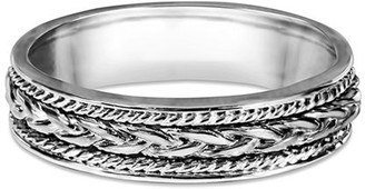Celtic TwoBirch Sterling Silver Plain Embellised Infinity Braided Wedding Band(crt)