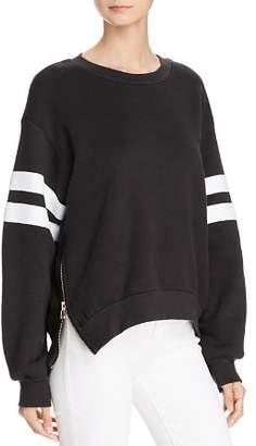 Sundry Side-Zip Striped-Sleeve Sweatshirt