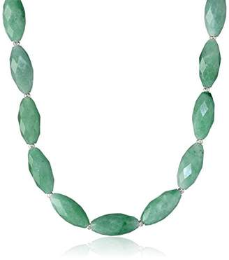 Sterling Silver Jade Faceted and Beaded Necklace
