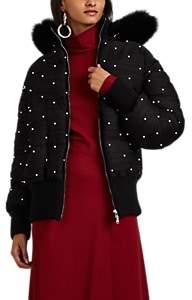 Prabal Gurung Women's Pearl-Embellished Plissé Jersey Convertible Puffer Coat - Black