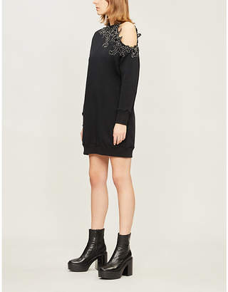 Christopher Kane Sequin-embellished asymmetric cotton-jersey mini dress