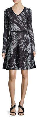 Carmen Marc Valvo Carmen By Long-Sleeve Birdseye Jacquard Dress