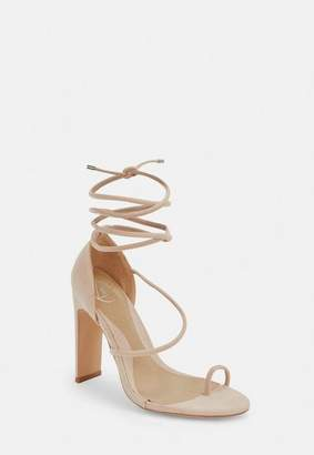 Missguided Nude Strappy Toe Post Heeled Sandals