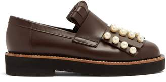 Marni Faux pearl-embellished leather loafers
