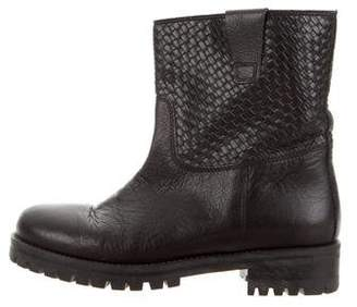 Studio Pollini Leather Round-Toe Mid-Calf Boots