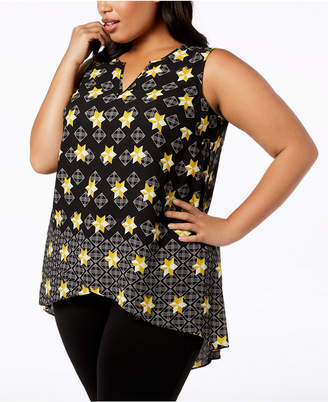 Alfani Printed Split-Neck High-Low Top, Created for Macy's